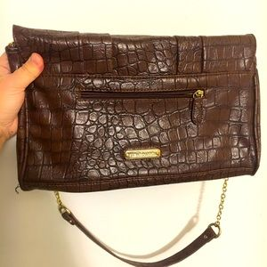 Steve Madden Brown faux alligator skin purse gold